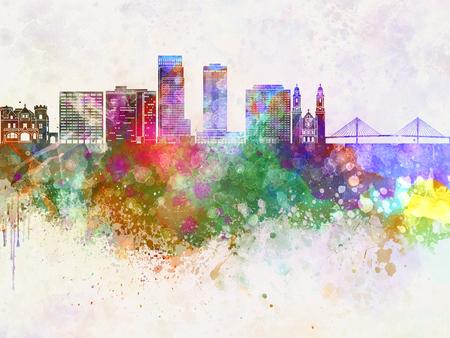 omaha: Omaha skyline in watercolor background