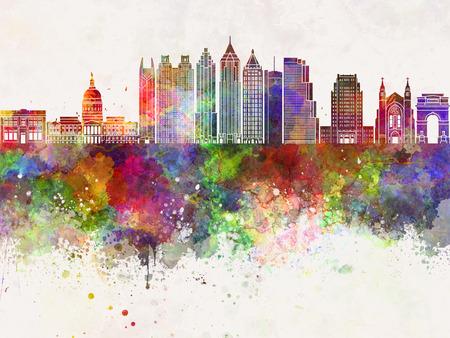 水彩画背景でアトランタのスカイライン