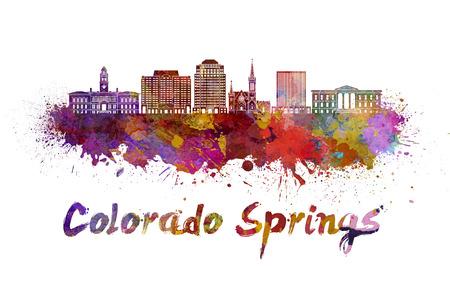 colorado springs: Colorado skyline in watercolor splatters