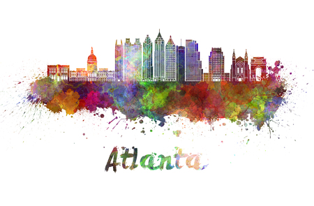 Atlanta  skyline in watercolor splatters