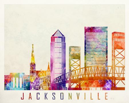 Jacksonville landmarks watercolor poster