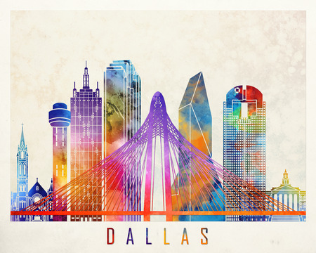 Dallas landmarks watercolor poster