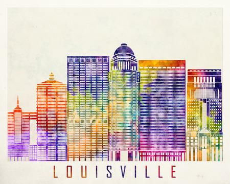 louisville: Louisville landmarks watercolor poster