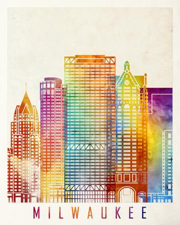 Milwaukee: Milwaukee landmarks watercolor poster Stock Photo