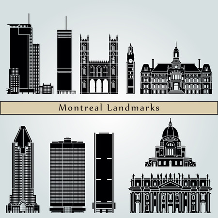 monuments: Montreal landmarks and monuments isolated on blue background in editable vector file Illustration