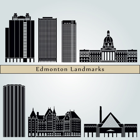 Edmonton landmarks and monuments isolated on blue background in editable vector file Illustration