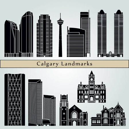 calgary: Calgary landmarks and monuments isolated on blue background in editable vector file Illustration