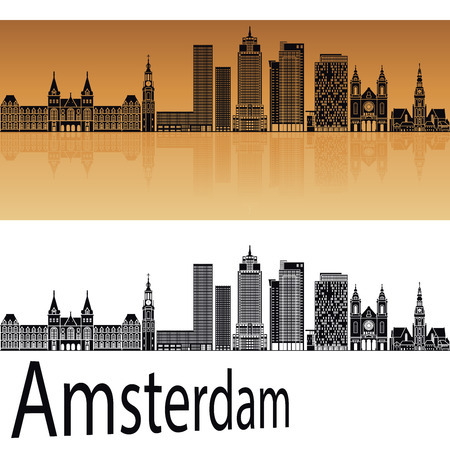 horizons: Amsterdam V2 skyline in orange background in editable vector file
