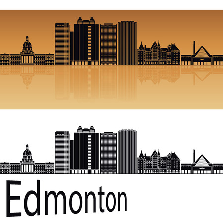Edmonton V2 skyline in orange background in editable vector file