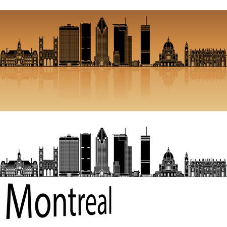 landmark: Montreal V2 skyline in orange background in editable vector file