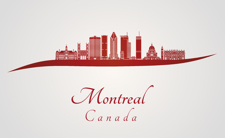 Montreal V2 skyline in red and gray background in editable vector file Illustration