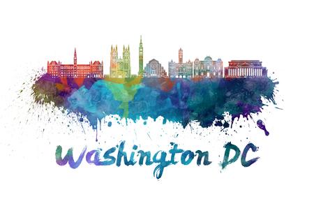 クリッピング パスと水彩の飛び散りでワシントン DC のスカイライン