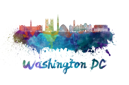 Washington DC skyline in watercolor splatters with clipping path