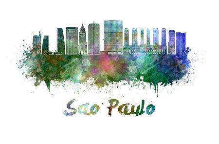 Sao Paulo skyline in watercolor splatters
