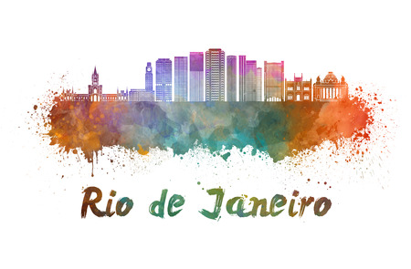 janeiro: Rio de Janeiro skyline in watercolor splatters with clipping path Stock Photo