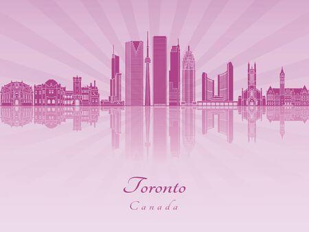 토론토 V2 스카이 라인 편집 가능한 벡터 파일에 보라색 빛난 난초 일러스트