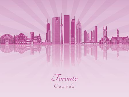 Toronto V2 skyline in purple radiant orchid in editable vector file