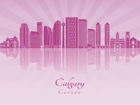 horizons: Calgary skyline in purple radiant orchid in editable vector file Illustration
