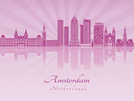 radiant: Amsterdam V2 skyline in purple radiant orchid in editable vector file