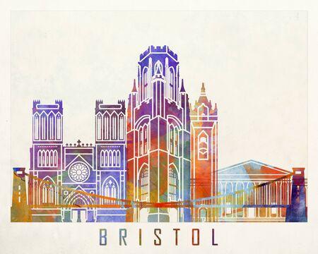 bristol: Bristol landmarks watercolor poster