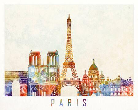 パリのランドマークの水彩画ポスター
