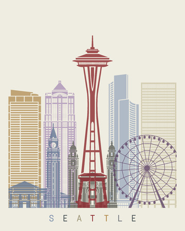 Seattle skyline poster in editable vector file Illustration