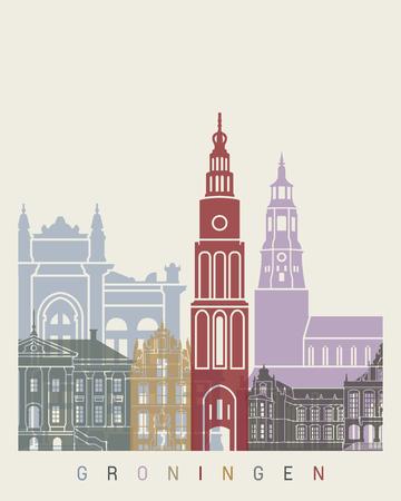 Groningen skyline poster in editable vector file