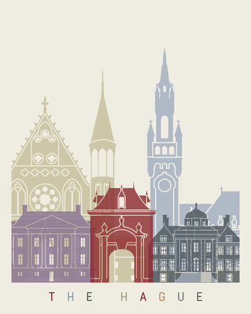 the hague: The Hague skyline poster in editable vector file