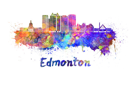 Edmonton skyline in watercolor splatters with clipping path
