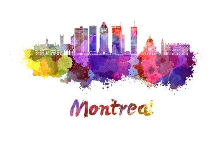 Montreal skyline in watercolor splatters with clipping path Фото со стока