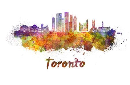 클리핑 경로와 수채화 물결 무늬에 토론토 스카이 라인