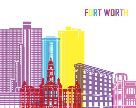 Fort Worth skyline pop in editable vector file