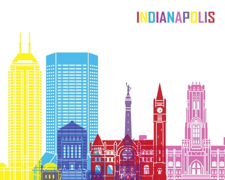 indianapolis: Indianapolis skyline pop in editable vector file