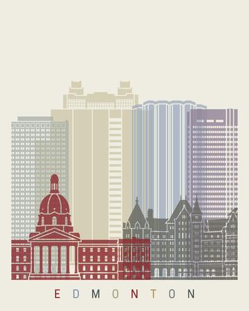 edmonton: Edmonton skyline poster in editable vector file