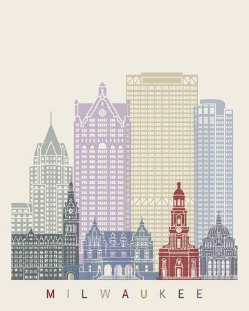 Milwaukee: Milwaukee skyline poster in editable vector file Illustration