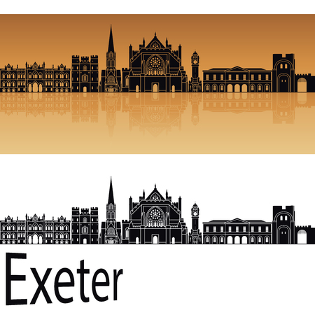 Exeter skyline in orange background in editable vector file Illustration