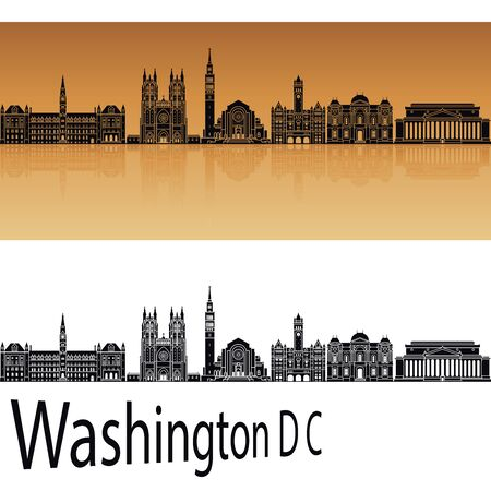 Washington DC V2 skyline in orange background in editable vector file