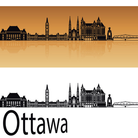 horizon reflection: Ottawa V2 skyline in orange background in editable vector file