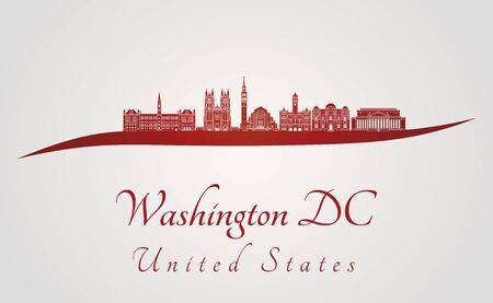 washington dc: Washington DC skyline in red and gray background in editable vector file Illustration