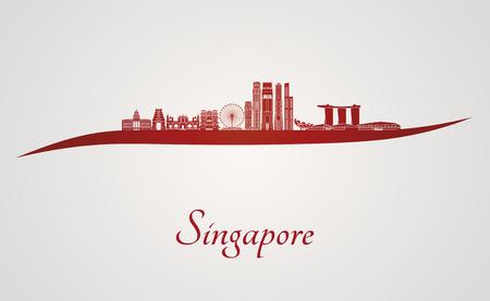 編集可能なベクトル ファイルの赤と灰色の背景でシンガポールのスカイライン