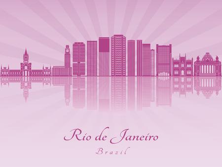 radiant: Rio de Janeiro V2 skyline in purple radiant orchid in editable vector file Illustration