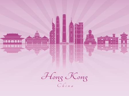 radiant: Hong Kong V2 skyline in purple radiant orchid in editable vector file Illustration