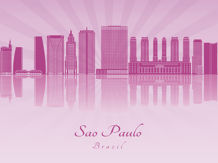 radiant: Sao Paulo V2 skyline in purple radiant orchid in editable vector file