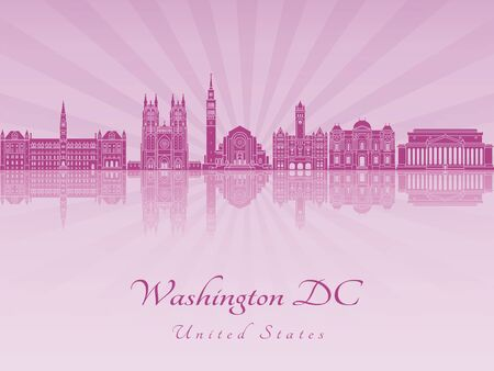 panorama city: Washington DC V2 skyline in purple radiant orchid in editable vector file