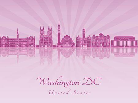 radiant: Washington DC V2 skyline in purple radiant orchid in editable vector file