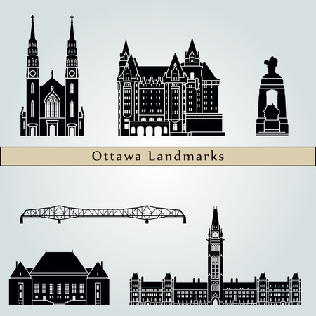 Ottawa V2  landmarks and monuments isolated on blue background in editable vector file