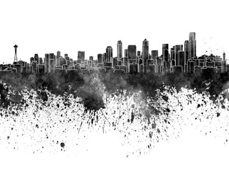 seattle: Seattle skyline in black watercolor on white background