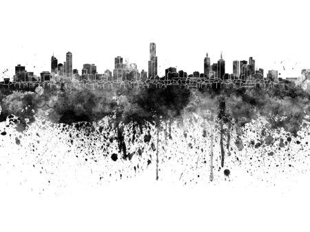 melbourne: Melbourne skyline in black watercolor on white background