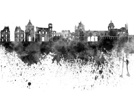 Palermo skyline in black watercolor on white background