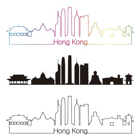 hong kong: Hong Kong skyline linear style with rainbow in editable vector file